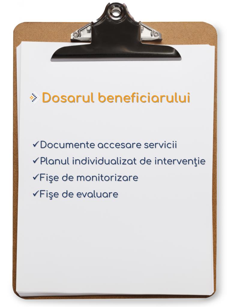 Dosarul beneficiarului: Documente accesare servici. Planul idividualizat de intervenție. Fișe monitorizare. Fișe evaluare.